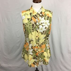 Tommy Bahama Yellow Sleeveless Button Down Top